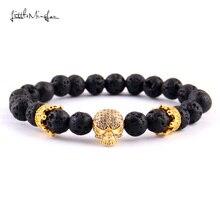 WML Luxury Pave white zircon skull crown charm 8mm lava bead men skeleton Bracelets & Bangles for women jewelry