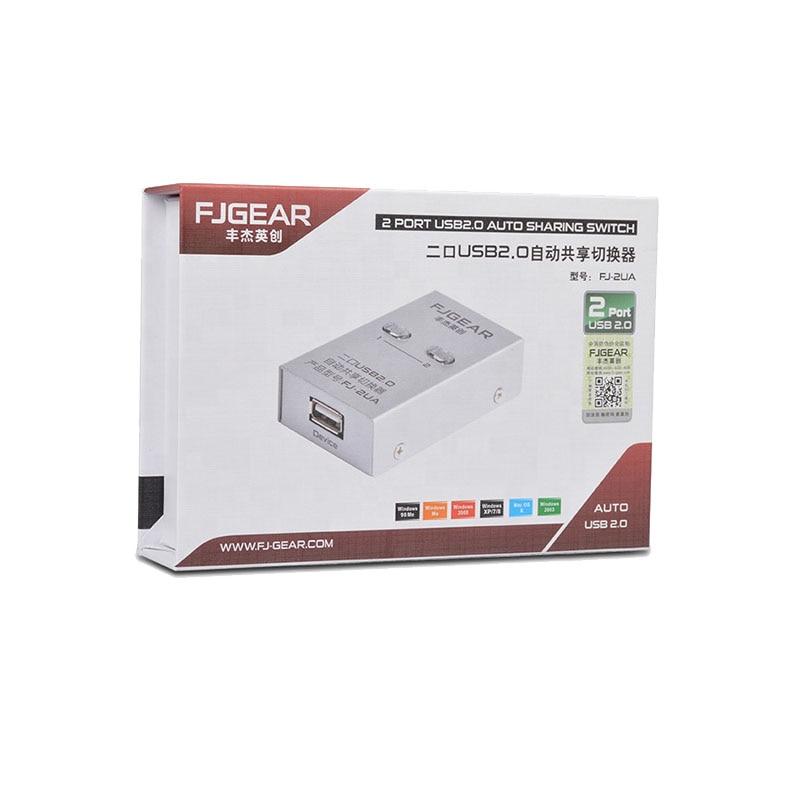 Купить с кэшбэком 2 Port USB Switch selector Auto Printer switch Sharer 2 in 1 out Two computers share one USB Printer Device FJ-2UA