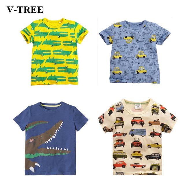 V-TREE Детская футболка мультфильм футболка для мальчика Детские летние футболки для девочек дизайнерская хлопковая одежда для малышей