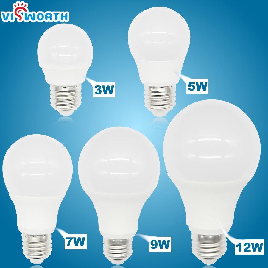 Светодиодные лампы VisWorth высокой яркости E27 A60, светодиодные лампы переменного тока 110-240 В, лампочка с реальной мощностью 3 Вт, 5 Вт, 7 Вт, 9 Вт, 12 В...