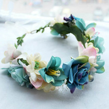 HIYONG Flower Crown Blue Floral Crown Wedding Floral Crown Headband for Girl Flower Crown Festival Diy Hair Accessories 26 Style crown xli2500