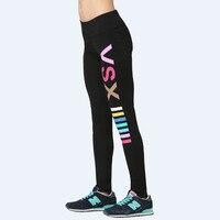 VSX lettera di modo della stampa leggings pant fitness Donne legging di secchezza rapido Jeggings Nave di Goccia