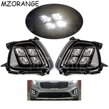 1 Set 2PCS Daytime Running Lights For KIA Sorento 2015 2016 12V ABS Car Accessories Front Bumper Fog Lamps Driving Lights DRL led front fog lights for ford fusion estate ju 2002 2008 car styling round bumper drl daytime running driving fog lamps