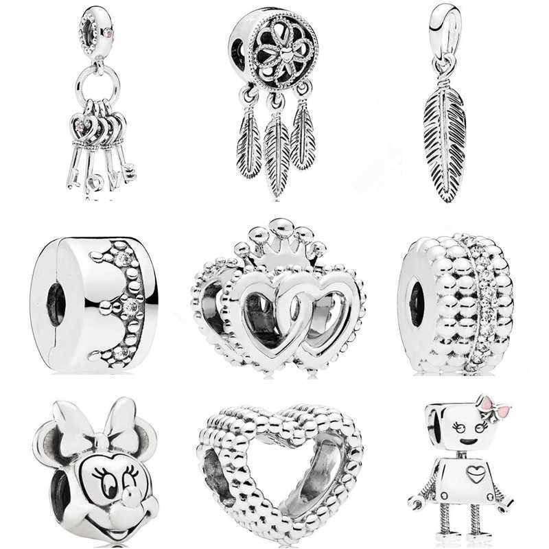 Ranqin New Fashion Robot Minnie Key Love Pendant Series Beads DIY Suitable For Pandora Bracelet Women Jewelry Charm
