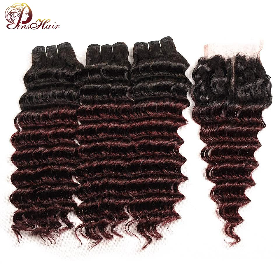 Pinshair Deep Wave Malaysian Hair 3 Bundles With Closure Ombre 1B Burgundy Dark Human Hair Weave Bundles With Closure Non Remy