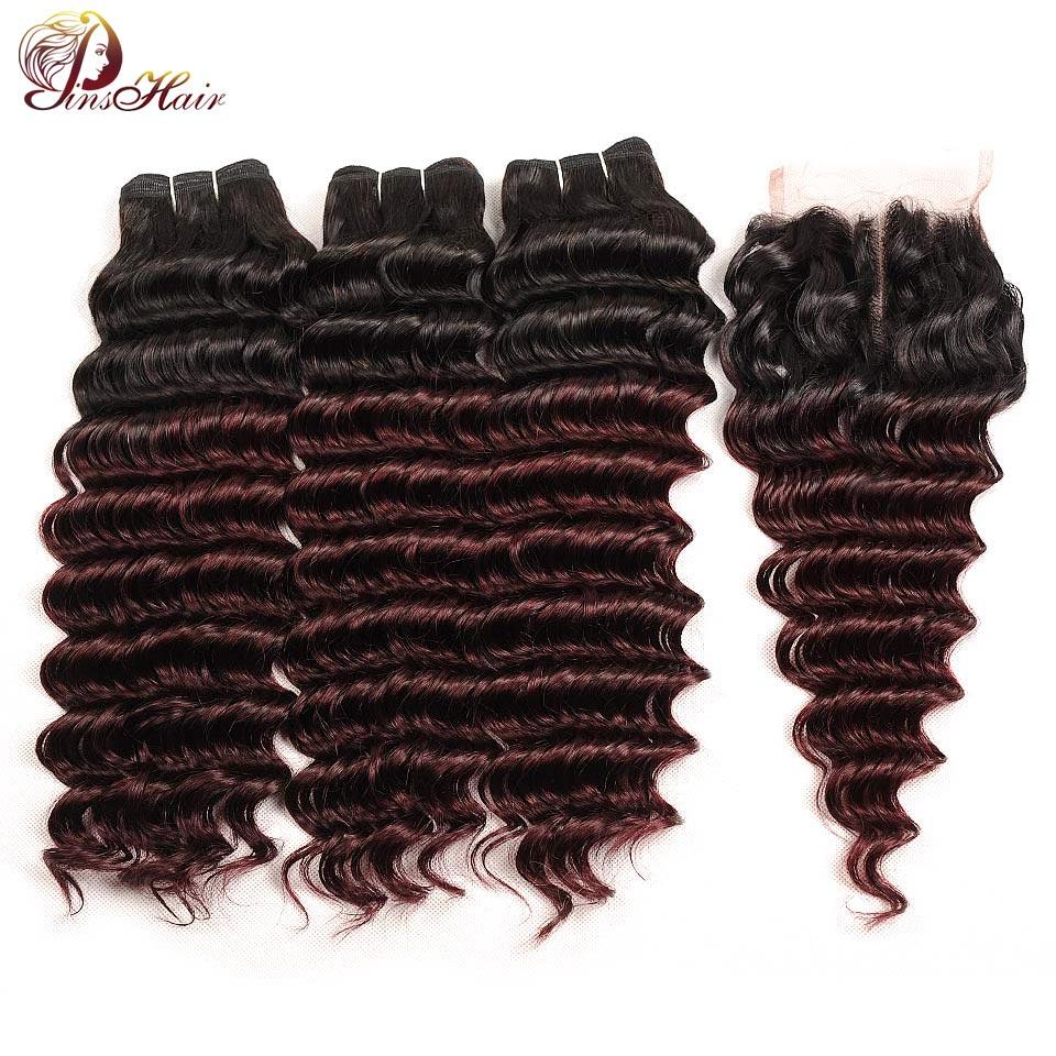 Pinshair Deep Wave Malaysian Hair 3 Bundles With Closure Ombre 1B Burgundy Dark Pre-Colored Human Hair Weave Bundle With Closure