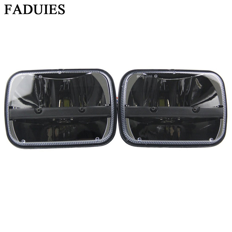 FADUIES A Pair Square 5''x 7'' Inch Led  Headlight Truck Light High Low Beam Headlamp For Jeep Wrangler YJ Cherokee XJ Trucks