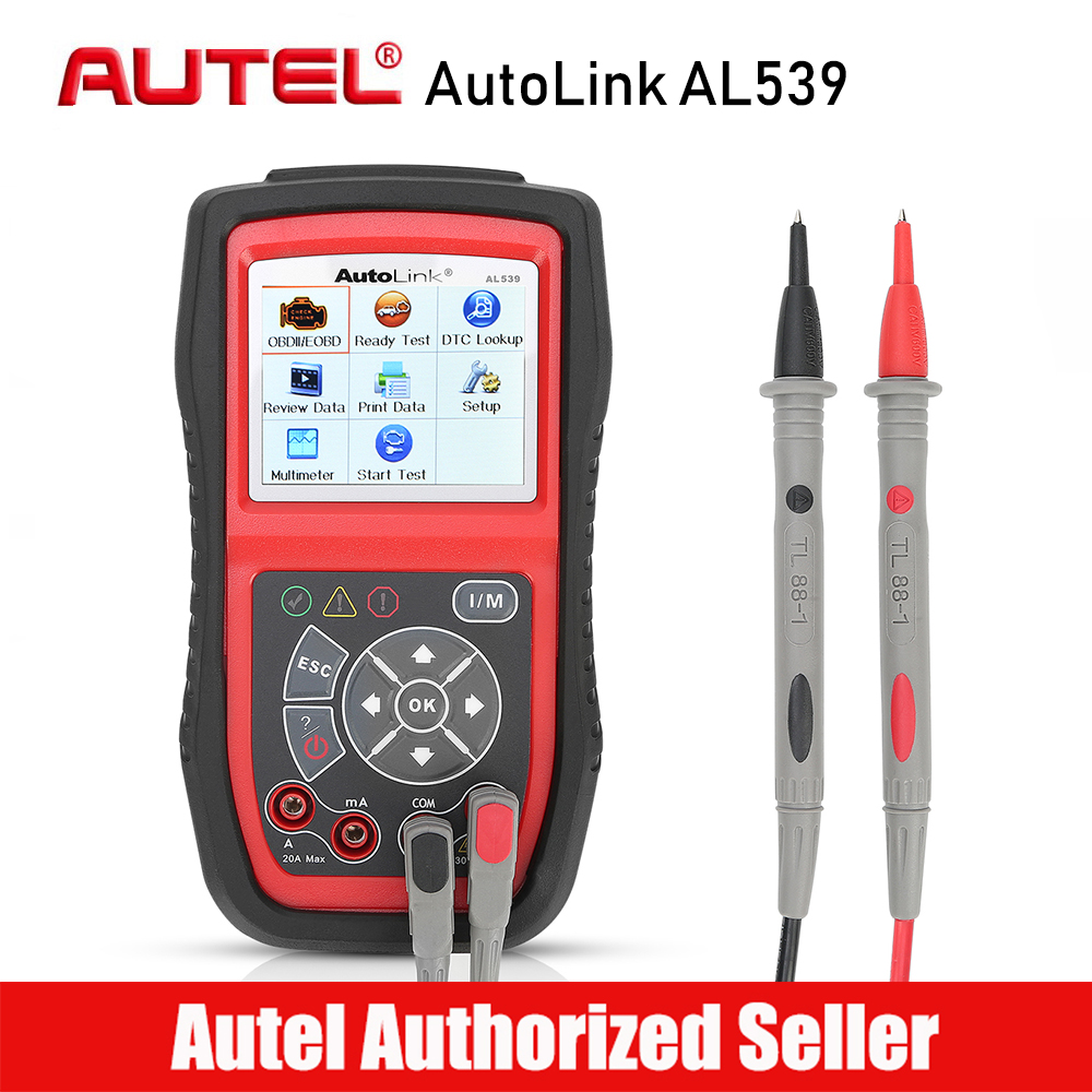 AUTEL AutoLink AL539 OBD2 Car Code Reader Scanner Electrical Voltage Test Tool AVO Meter Auto Diagnostic Tool Battery Tester цена и фото