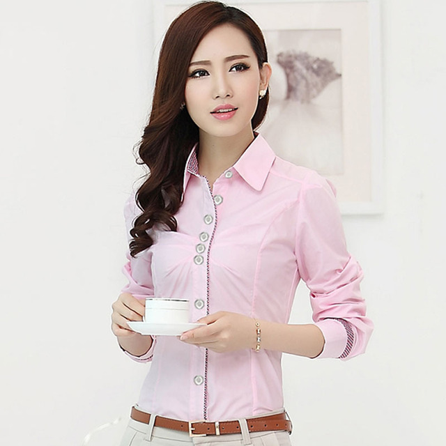 Formal Ladies Pink Shirts Women Blouses OL Fashion Ladies Office ...