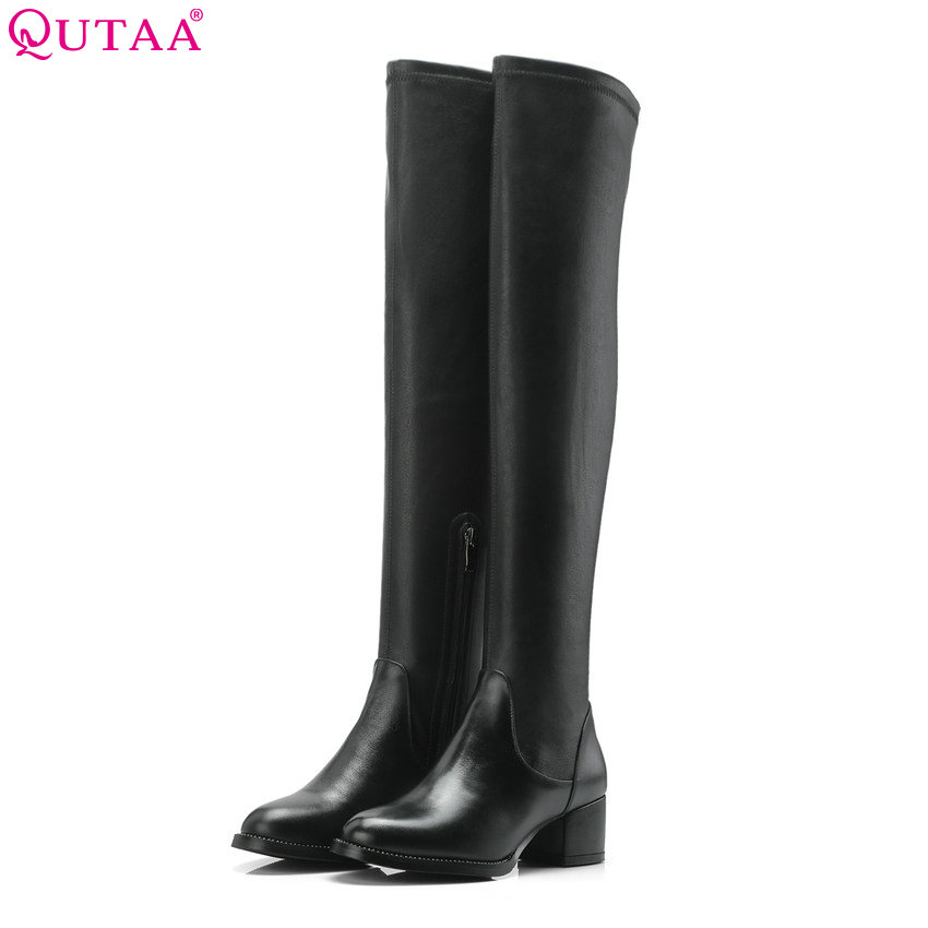 QUTAA 2019 Women Over The Knee High Heel Round Toe All Match Genuine Leather+pu Square High Heel Women Boots Big Size 34-39QUTAA 2019 Women Over The Knee High Heel Round Toe All Match Genuine Leather+pu Square High Heel Women Boots Big Size 34-39