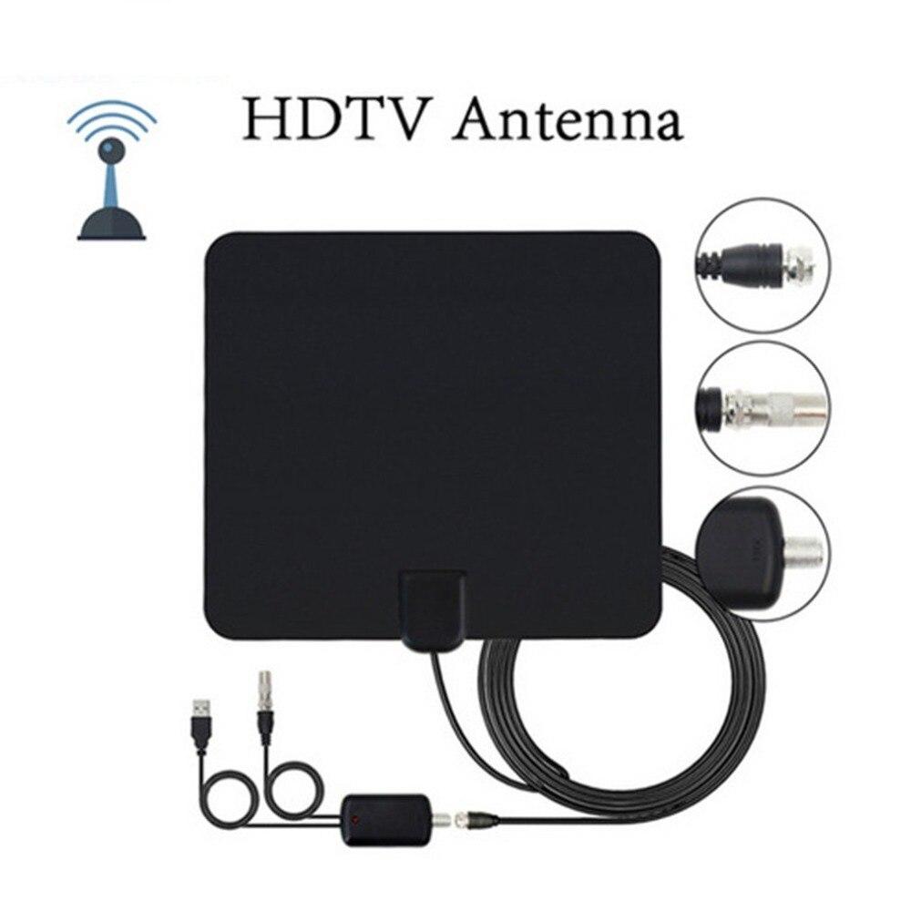 Professional Digital TV Indoor Antenna Aerial 80 Miles Range 1080P Amplified Booster HDTV UHF VHF FM Black