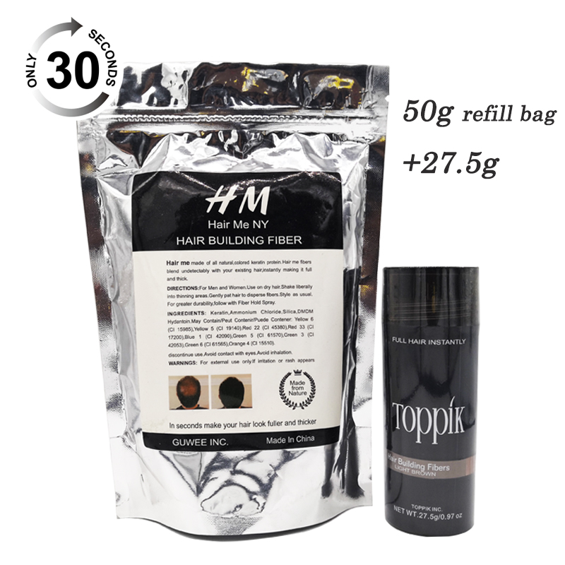 Toppik natural keratin hair building fibers powder refill bag 50g+ 27.5g bottle 9 colors for hair regrowth toppik hair building fibers powder 27 5g spray lock 118ml pump to fix with hair fibers on your hair fibers have 9 colors