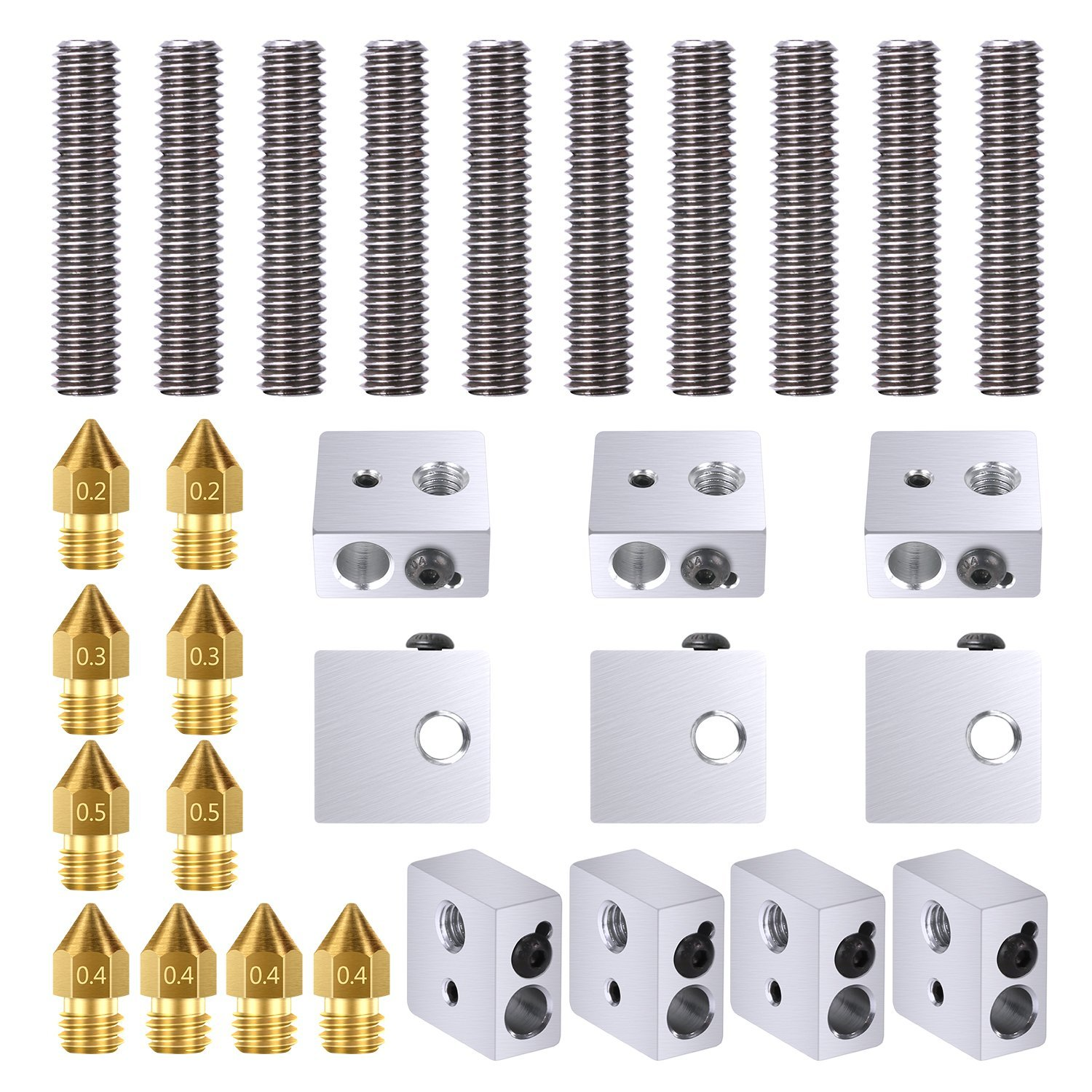 HOT-10pcs 30MM Length Extruder 1.75mm Throat Tube and 10pcs Brass Extruder Nozzle Print Heads And 10pcs Aluminum Heater Block