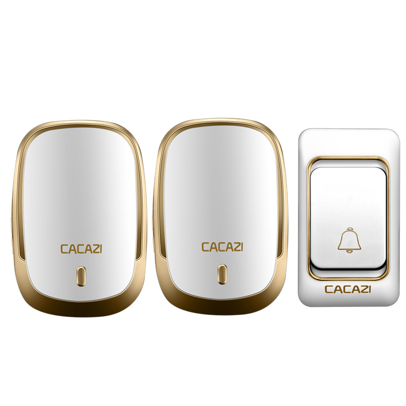 CACAZI Smart Wireless Doorbell Waterproof with Two Receivers DC Door Bell 36 Chimes 200m Range for Home OfficeCACAZI Smart Wireless Doorbell Waterproof with Two Receivers DC Door Bell 36 Chimes 200m Range for Home Office