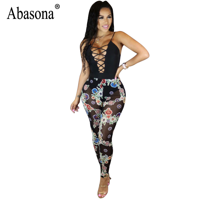 Abasona Women Lace Up Jumpsuits Summer Skinny Long Pants Mesh Patchwork Sexy Jumpsuit Women Party Club Print Black White Overall