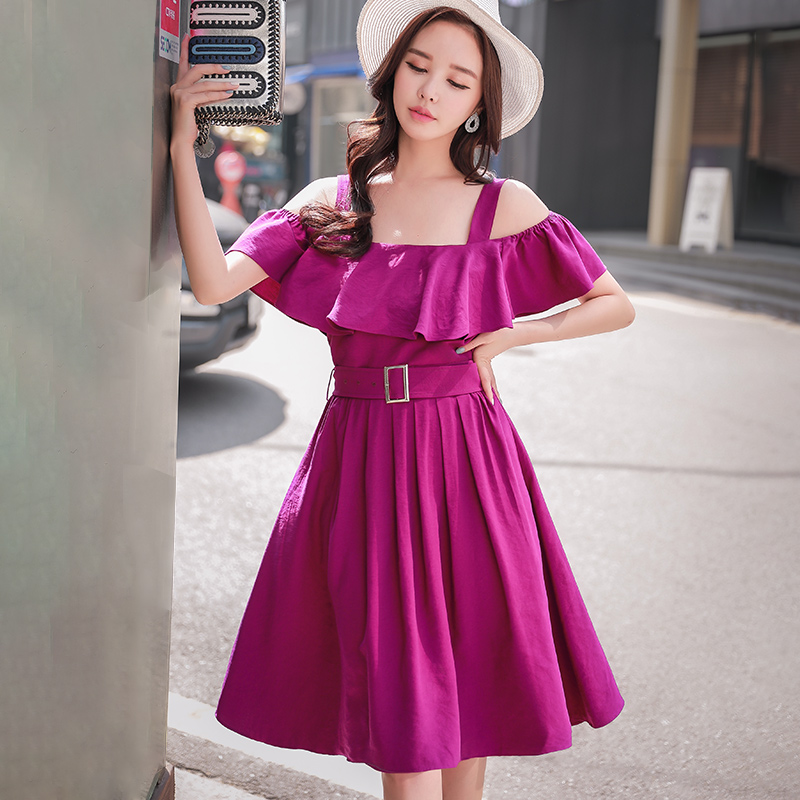 Dabuwawa New Off shoulder Purple Elegant Dress Sets for Women Girls Summer Floral Ruffles Sleeveless Sexy