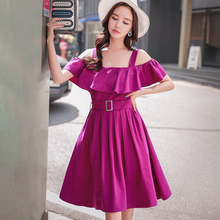Dabuwawa New Off shoulder Purple Elegant Dress Sets for Women Girls Summer Floral Ruffles Sleeveless Sexy Midi Dresses D18BSA028