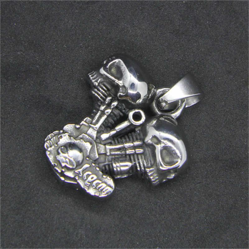 Rany و روي أحدث النارية جمجمة قلادة قلادة 316l الفولاذ الصلب مجوهرات السائق المحرك المحرك