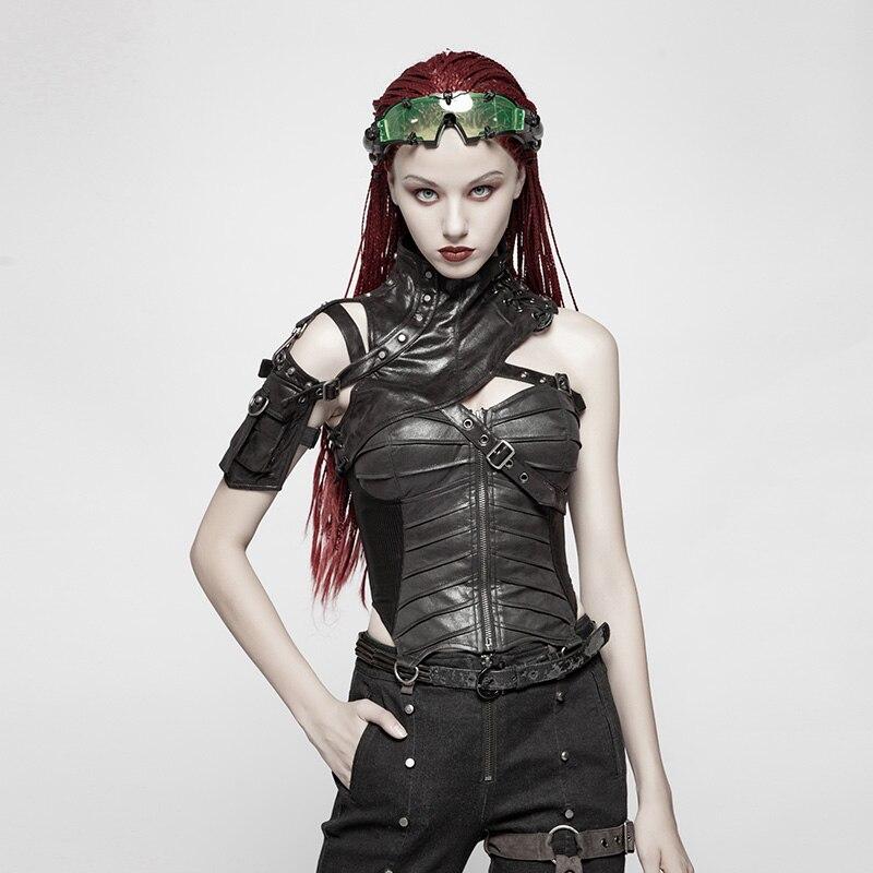 PUNK RAVE Women Punk Black Synthetic Leather Shoulder  Bag Straps Corset Tops Fashion Sexy Club Party Vest Summer Streetwear