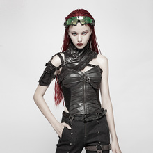 PUNK RAVE Women Punk Black Synthetic Leather Shoulder  Bag Straps Corset Tops Fashion Sexy Club Party Vest Summer Streetwear