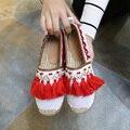 2017 Ladies Slipony Women Canvas Demin Espadrilles Tassel Fringe Hemp Flats Brand Designer Flat Shoes Loafers Espadrilles Loafer