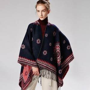 Image 5 - 2019 New Womens Winter Scarf Womens Cashmere Ponchos and Capes Fashion Design Pashmina Ladies Knit Shawl Cape Vintage Blanket