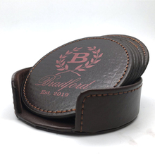 Personalized Leather Coasters Set of 6 Round/Square ,Custom Engraved