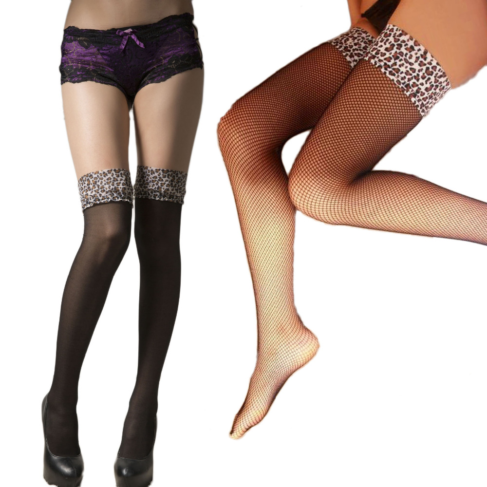 leopard Top Thigh High Fishnet Stockings sexy lady high knee sheer Silicone strips Comfortable Tight club party hosiery