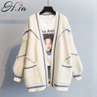 H.SA 2019 Spring Cardigan Women Open Stitch Loose Sweater Jumpers Letters Oversized Sueter Mujer Yellow Cardigans manteau femme