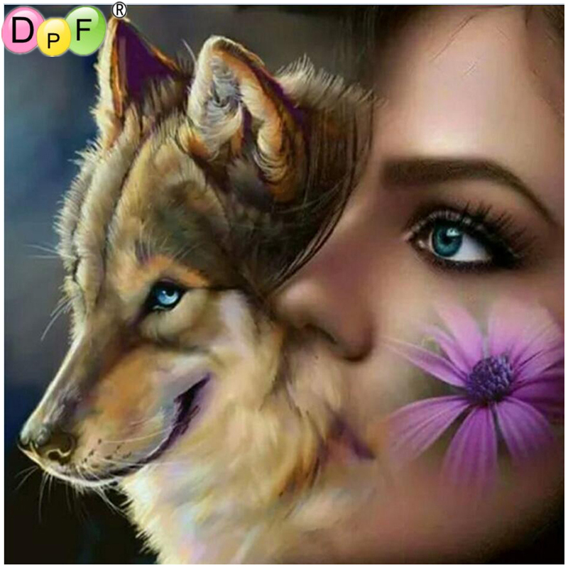 DPF New Full Square Diamond 5D Diamond Painting Wolf and gi Embroidery Cross Stitch Rhinestone Mosaic Painting Home Decor Gift