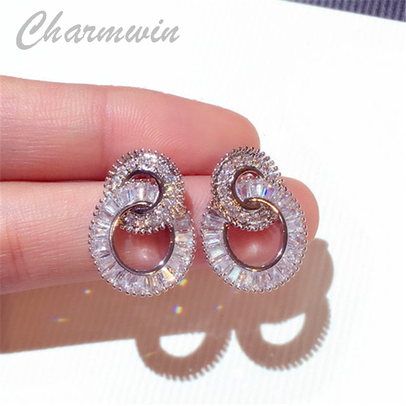 Charmwin New S925 Silver Needle Stud Earrings For Women Super Flash Cubic Zirconia Circle Earrings Fahion Jewelry Female PE1693 chic hollow alloy circle ring stud earrings for women
