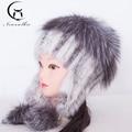 Ear Cap Winter fur hats For Women Real Mink Fur Hats With Nature Fur 2016 New Arrival High Quality Warm Ear Fox Fur Cap Womens