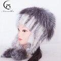 Sombreros de piel Para Mujeres Reales de Piel de Visón Invierno del Casquillo del oído Sombreros Con naturaleza de Piel de 2016 Nueva Llegada de la Alta Calidad Del Oído Cálido Gorro de Piel de Zorro para mujer
