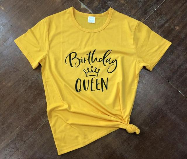 3008a684e9a Summer Ladies Gift Pink Clothes Tee Birthday Queen T-Shirt Tumblr Birthday Slogan  Cotton Trendy