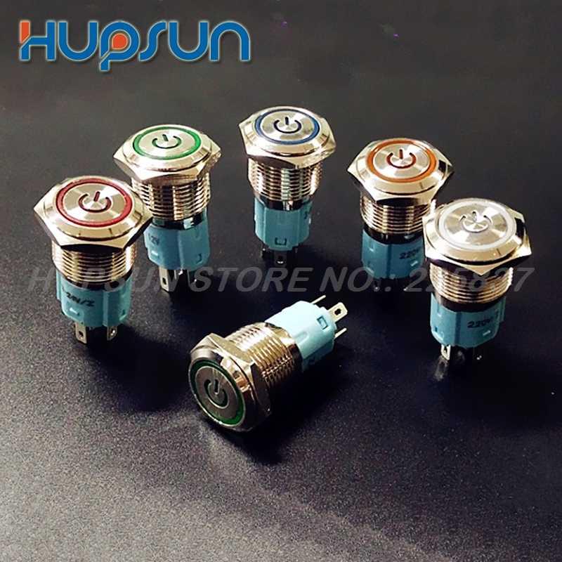 5 pc wodoodporny metalowy LED 5 v 12 v 220 v 5a 16mm chwilowy przełącznik wciskany samochodów uruchomić silnik, programowanie sygnału sterowania PLC