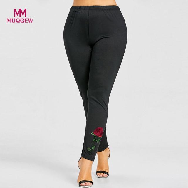 001e7861249 trousers for women pants Casual Plus Size Rose female pants Applique Leggings  Pants High Waist Floral pantalon femme 2018