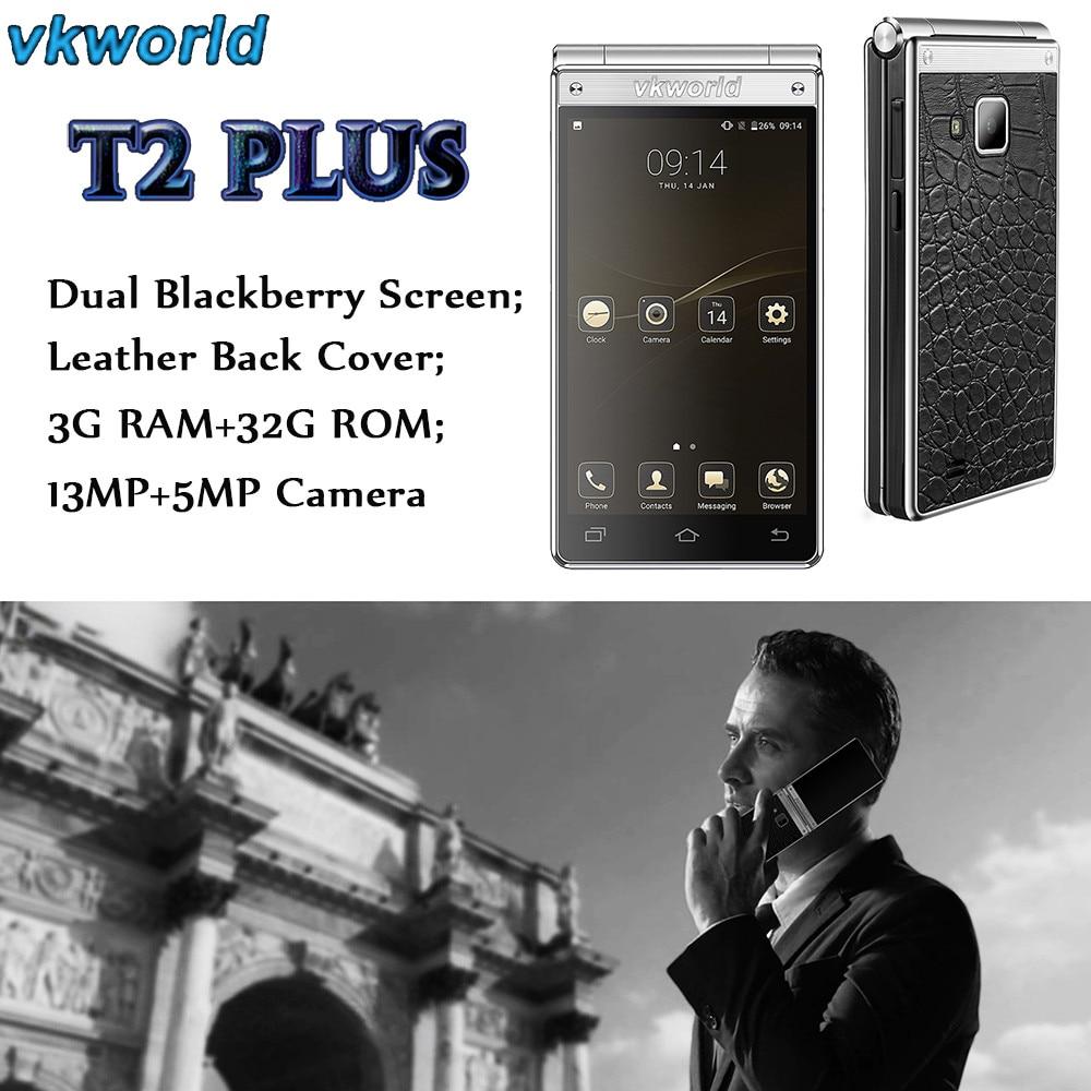 Vkworld T2 Plus Flip smartphone 3G RAM 32G ROM Android 7.0 OTA Dual Screen Jul12 vkworld vk800x 5 0 inch 3g smartphone 1gb 8gb