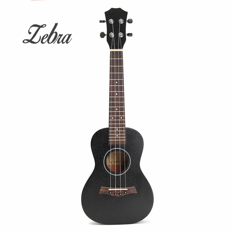 Zebra 23 Inch Black Rosewood Fingerboard Concert Ukulele Sapele Hawaii Ukelele Guitarra Bass Guitar For Musical Instruments zebra professional 24 inch sapele black concert ukulele with rosewood fingerboard for beginner 4 stringed ukulele instrument