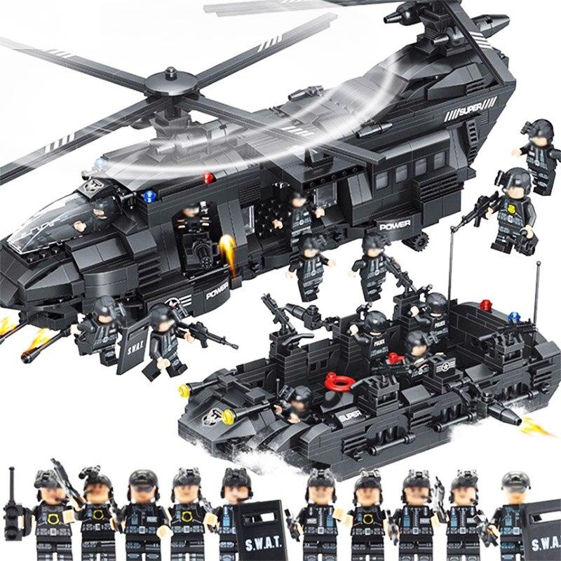 1351 pièces SWAT équipe Transport hélicoptère SWAT ville Police Legoings blocs de construction jouet Kit bricolage éducatif enfants cadeaux d'anniversaire