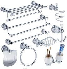 цены Modern Clear Crystal Bathroom Accessories Sets Silver Polished Chrome Bathroom Products Solid Brass Bathroom Hardware Sets