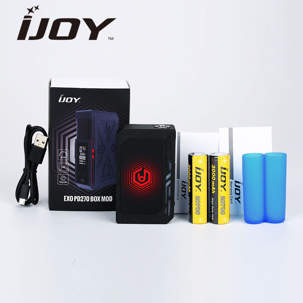 Original 207W IJOY EXO PD270 Box Mod 6000mAh W/ 2pc 20700 Battery Wrinkle Finish &RGB Back-light E Cigarette Mod VS Pd1865 Mod