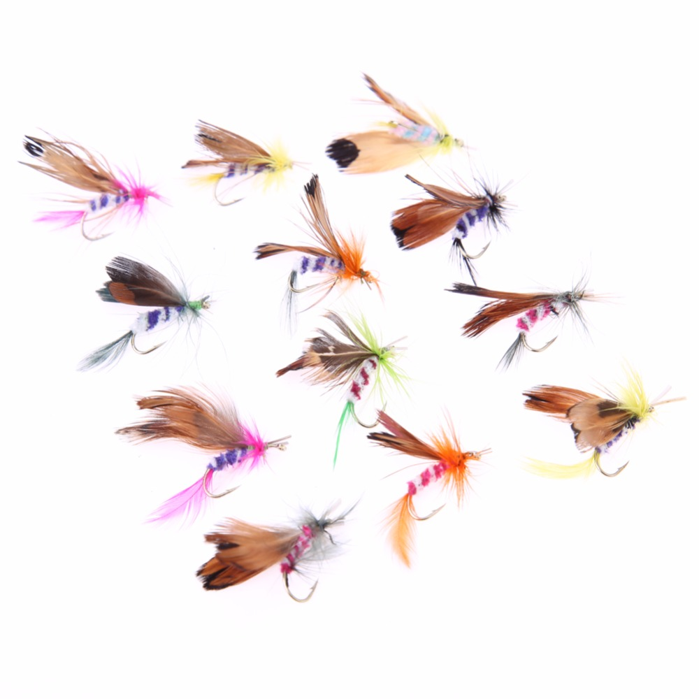 12pcs/lot Fly Fishing Lure Set Style Insect Artificial Fishing Bait Feather Single Hooks Carp Wool and stainless Fish Lure  FE5# настольная игра колонизаторы европа hobby world hw1134