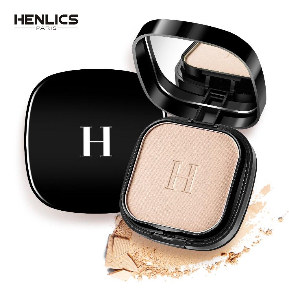 HENLICS Maquillage Visage Poudre Pressée avec Puff Imperméable Blanchiment Éclairer Le Visage Mat Poudre Palette Contour Maquillage Poudre