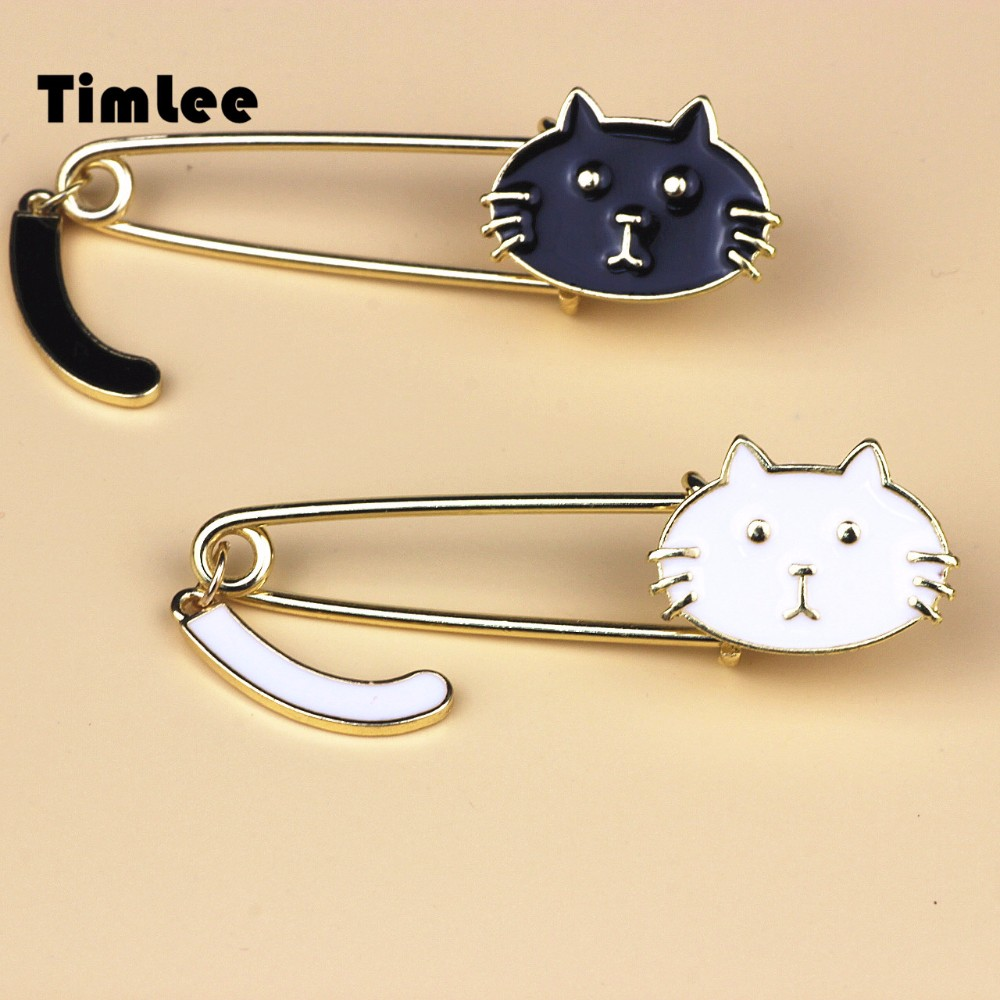 Timlee X007  Free shipping Cute Black and White Cats Oil Drop Exquisite Brooch Pins,Fashion Jewelry WholesaLWT