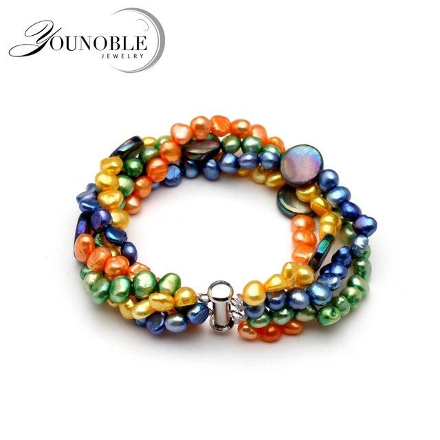 efd6f1fe6f3b Hermosa pulsera de perlas de agua dulce de múltiples capas naturales ...