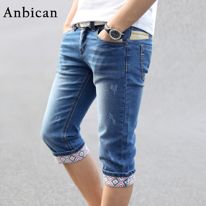 Anbican Brand 2017 New Summer Skinny Jeans Men Stretch Blue Capri Jeans Slim Fit Mens Short