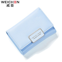WEICHEN Brand Fresh Short Women Wallet Multi Function Card Holders Concise Small Purse PU Leather Lady