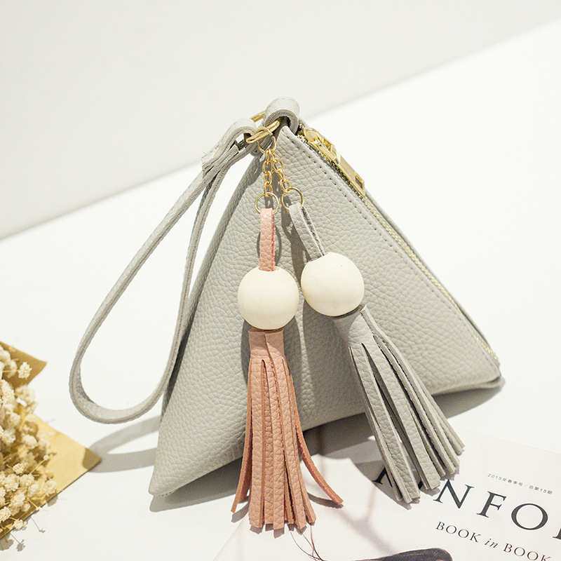 leather handbag Mini Triangle Women Clutch Purse Hand Bag Lady Clutches Casual Phone Package portefeuille femme