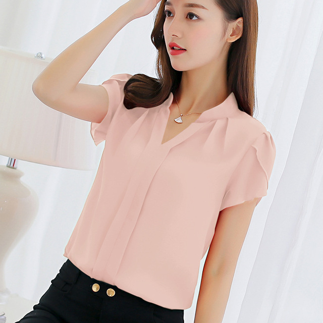 27f043266b792 Blue White Red Blouse New Spring and Summer Female Tops Plus Size 3XL Shirts  Casual Top Fashion Slim Short Sleeve Business Shirt
