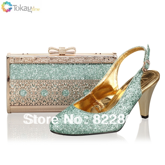 Woman shoes,Italian shoe and bag to match with free shipping Water blue fashion shinning stones for wedding,Size38-42,,SB8725,